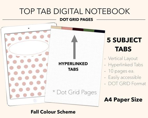 5 Subject Top Tab Digital Notebook Fall Dot Grid Goodnotes Notability Notebook Journal Planner Cover Sp Planner Digital Notebooks Fall Color Schemes