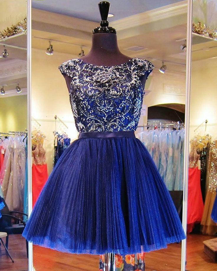 Short Graduation Dresses, Graduation Dresses Tulle, Dark Royal Blue, Cap…