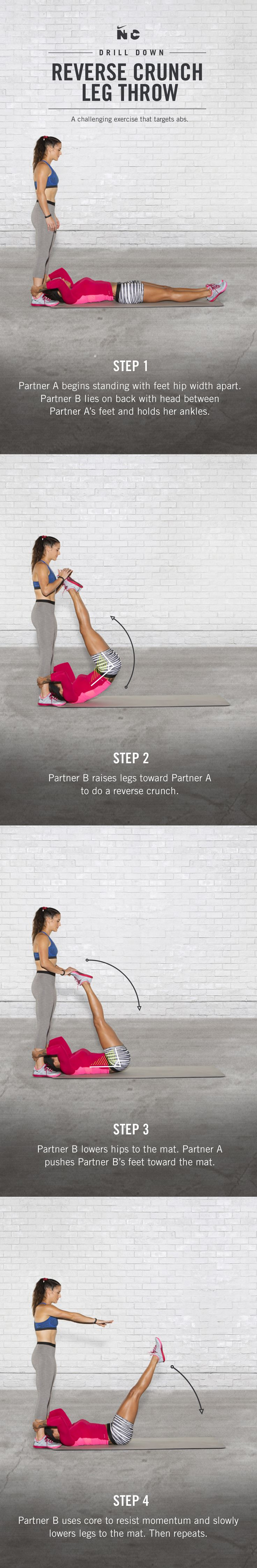 Strengthen your core with the Reverse Crunch Leg Throws in Sydney Leroux and Ali Krieger's Dynamic Duo partner workout on Nike+ Training Club.