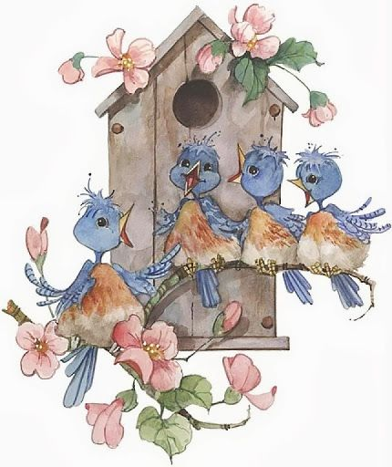 ~A Lovely Blue Bird Choir~ This reminds me of Carol C from Bluebird Camp and the song.... And He sang to me (Marc Anthony)