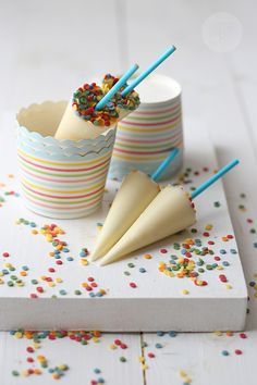 Homemade chocolate umbrellas - Cloudy with a chance of confetti. So cute!