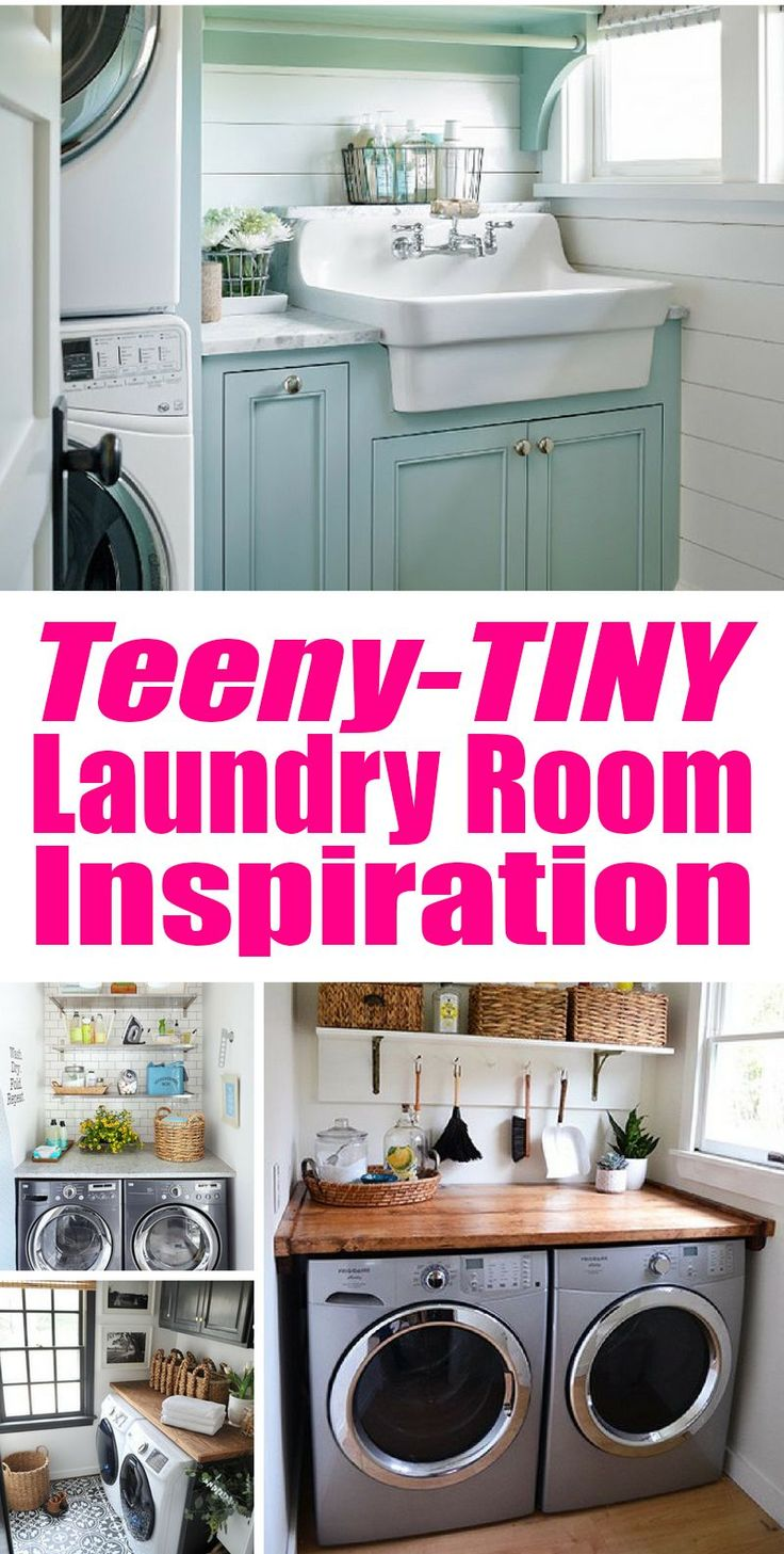 Teeny Tiny Laundry Room Inspiration for the teeny tiny laundry room owner. Just because it's a closet, doesn't mean it can't be both functional and pretty!  Budget Decorating | DIY | Home Decor | Decorating on a Budget | Creative Decorating | Cheap Decor | Cheap Decorating