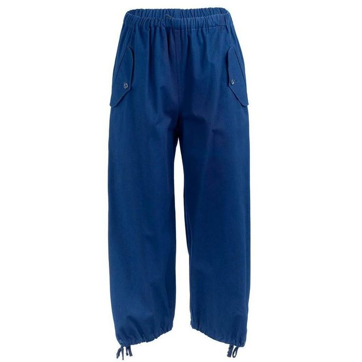 1990's Comme Des Garçons Blue Cotton Drawstring Pants | From a collection of rare vintage pants at https://www.1stdibs.com/fashion/clothing/pants/