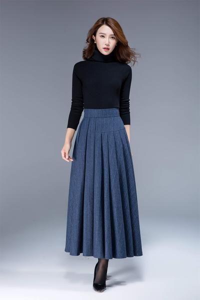 d577c8bd77a5 Grauen Rock, Robes Vintage, Vintage Skirt, Stripe Skirt, Skirt Pleated, Gray