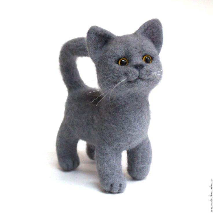Купить Серый котенок британской породы. Игрушка из шерсти - серый, кот, котенок, котик, британец