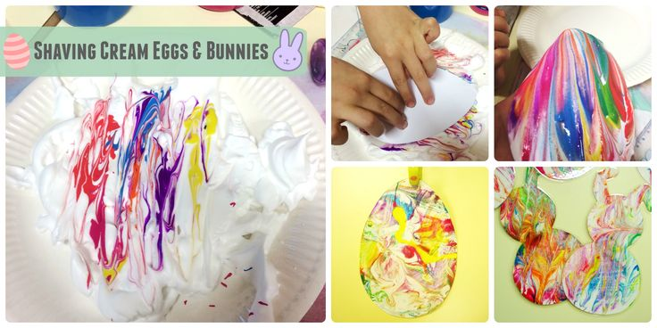 Shaving foam eggs & bunnies! Really simple but kids love the effect!