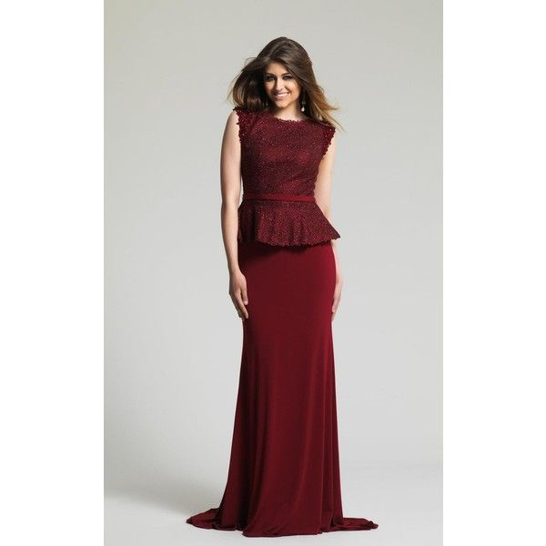 Dave and Johnny 1947 Christmas Dress Long High Neckline Sleeveless ($379) ❤ liked on Polyvore featuring dresses, formal dresses, wine, long formal dresses, christmas dresses, christmas cocktail dresses, mother of the bride dresses and long cocktail dresses