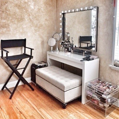 Vanity room- love the ottoman as a seat and the directors chair!: