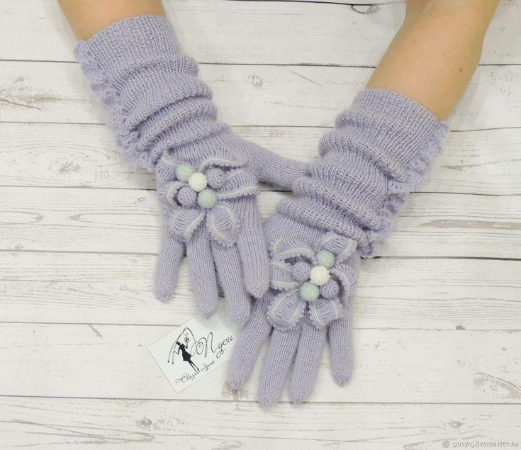"""Купить Вязаные перчатки """" Хрустальный звон"""" без повторов - голубой, подарок женщине"""