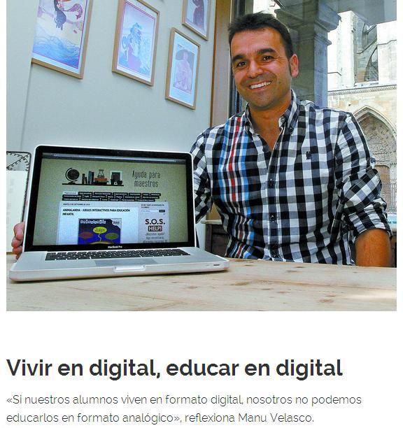 El periódico El Diario de León ha publicado un artículo en el suplemento Innova sobre el blog Ayuda para maestros y sobre El Blog de Manu Velasco ¡Muchas gracias! Podéis leer el artículo entero en el siguiente enlace: http://innova.diariodeleon.es/el-blog-del-maestro-que-ayuda-maestros/