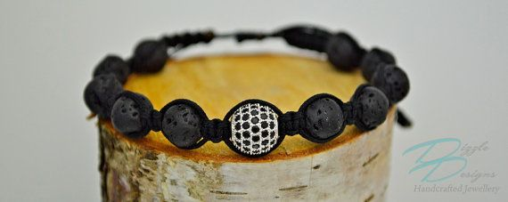 Adjustable Black Lava Rock Bracelet w/ Silver by DizzleDesigns
