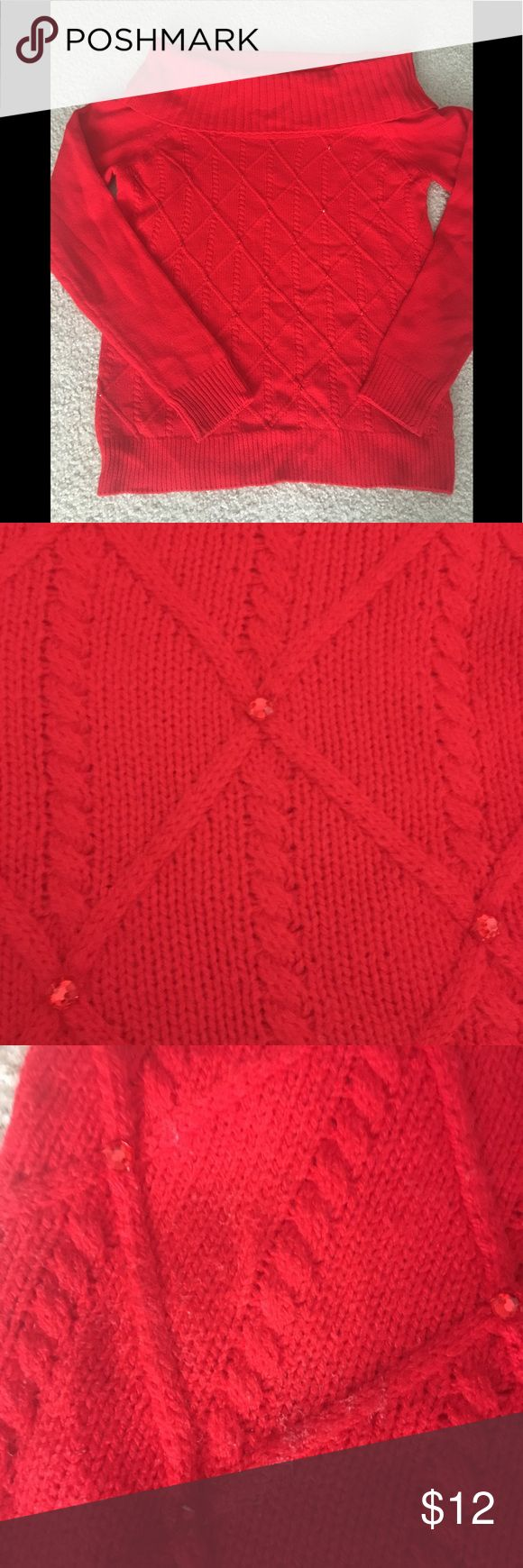 Red sweater with red rhinestones NY&CO red cowl neck sweater with rhinestones. Gently worn. Slight discoloration on the front, small pull on the sleeve. New York & Company Sweaters Cowl & Turtlenecks