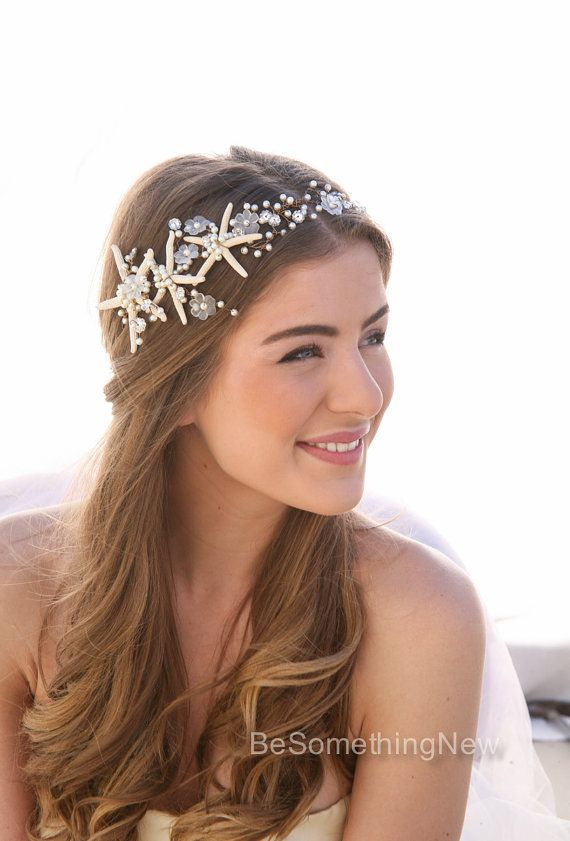 Playa boda mar y perla con cable pelo vid, tocados de boda náutica, destino boda diadema cuentas Tiara con los pescados de la estrella