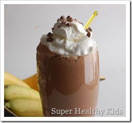 Healthy Chocolate Banana Smoothie. Use the recipe in the link OR...use the recipe as follows as a meal replacement. Sooo much healthier than the Yoplait Chocolate Banana Smoothies!  1 cup milk (reg,soy or almond)  1 banana , chopped and frozen   1 tablespoon cocoa powder   1 tablespoon brown sugar (optional)   1 tablespoon protein powder   ice cubes , handful