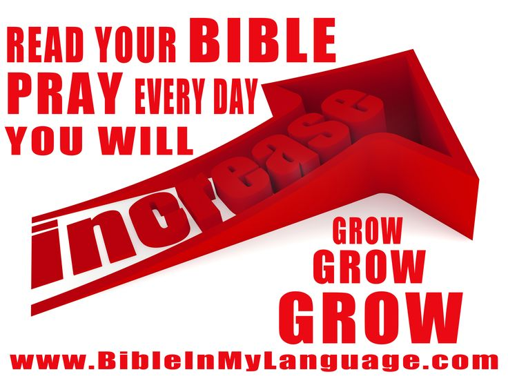 Read your BIBLE, Pray everyday, and you'll grow, grow, grow!  INCREASE  www.bibleinmylanguage.com