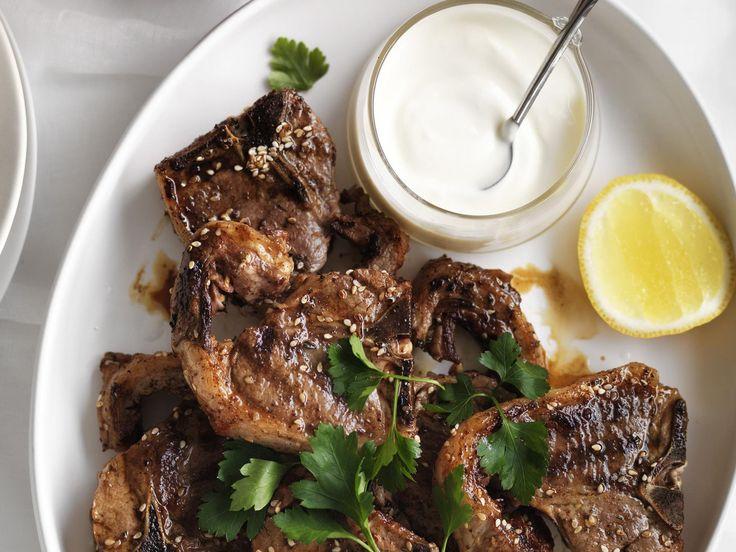 Zau0027atar Lamb Chops With Roasted Garlic Yoghurt | Recipe | Lamb Chops, Lambs  And Garlic