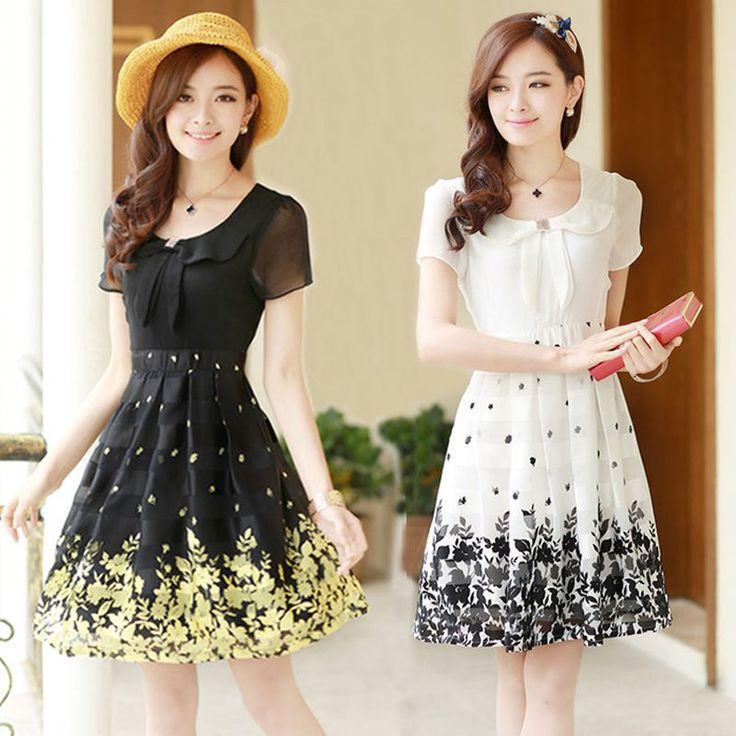 Summer Korean Fashion Elegant Temperament Shitsuke Floral Chiffon Dress