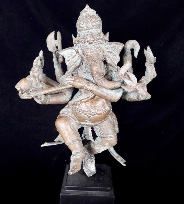 Spiritual Dancing Ganesh God Multiple Hand Bronze Brass Statue Art Shiva Son
