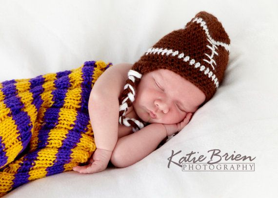 $18.99 Crochet Football Hat with braided straps. See custom team hats on my Etsy shop.