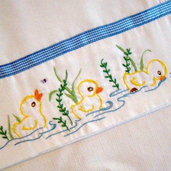 Three Little Ducks - Hand Embroidered Pillowcase