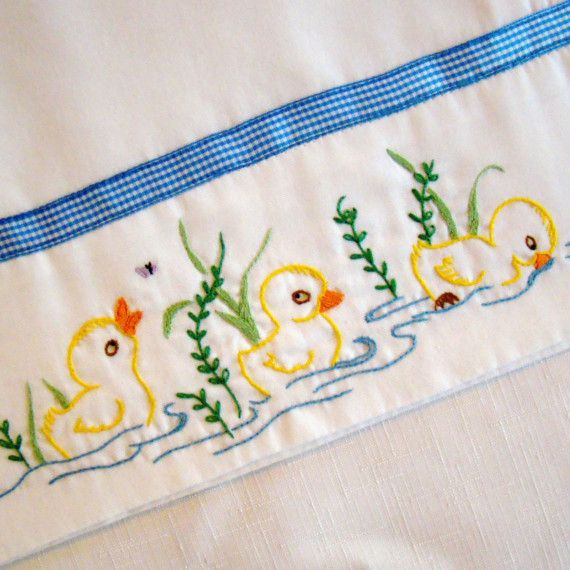 Three Little Ducks - Hand Embroidered Pillowcase