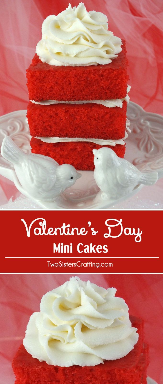 If you are looking for a Valentine's Day Dessert, look no further. These Valentine's Day Mini Cakes are a great Valentine's Day Treat for your special someone. So beautiful and so yummy, this unique take on a cupcake is sure to make an impression with your loved ones. Follow us for more great Valentines Day Food Ideas.