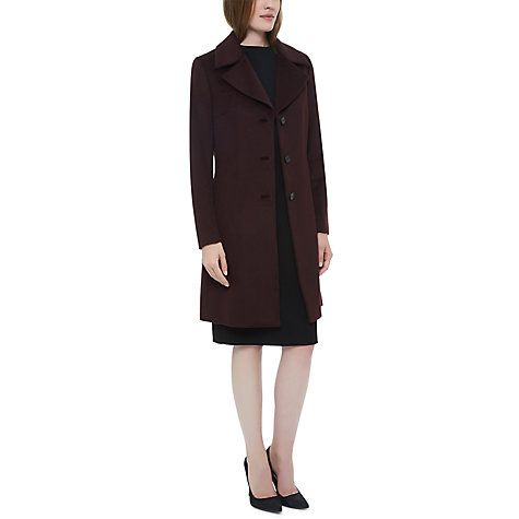 Buy Jaeger Wool Three Button Coat, Chocolate Online at johnlewis.com