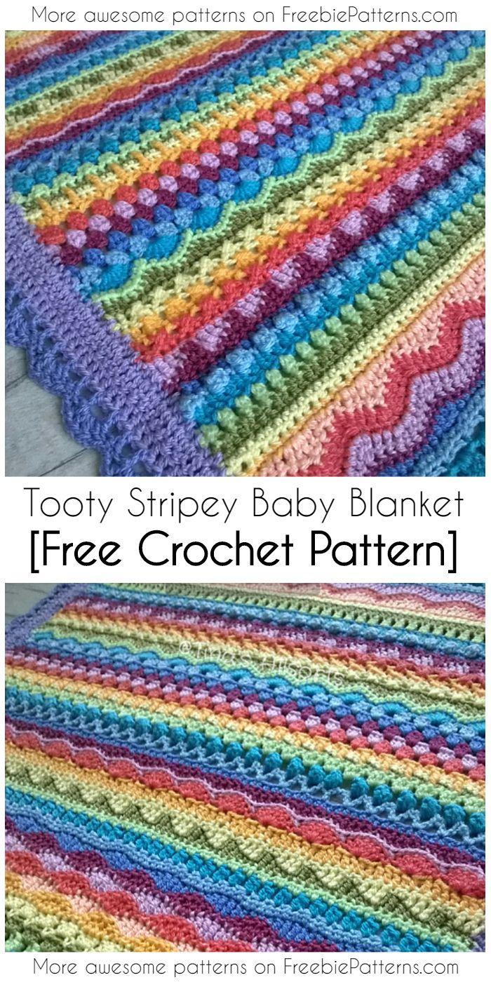Crochet Tooty Stripey Baby Blanket [Free Pattern]   Baby blanket ...