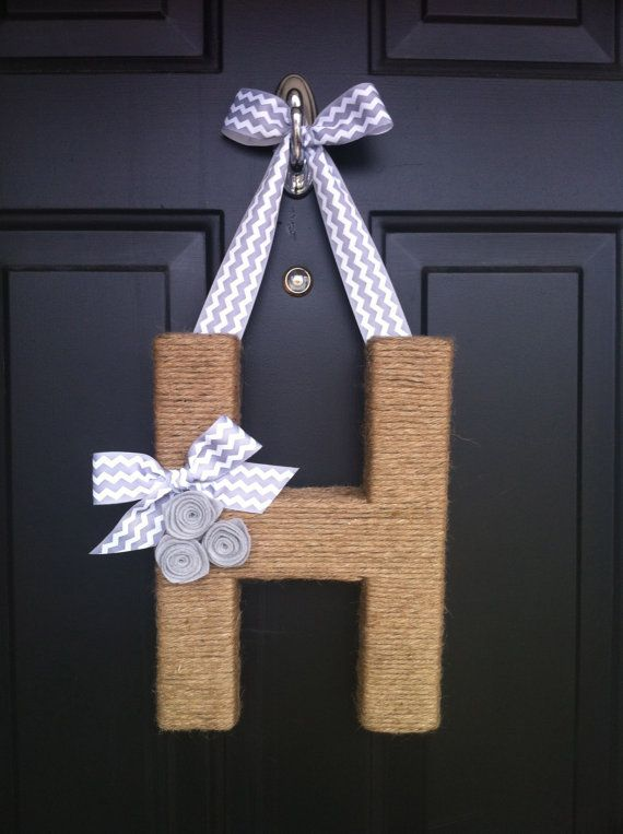 Chevron Jute Monogram Wreath.  Handmade.  Twine Letter. on Etsy, $38.00
