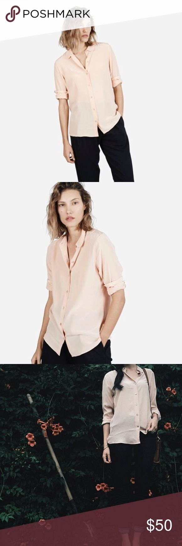 NWOT Everlane Silk Round Collar Shirt in Nude Everlane round collar silk button down. Beautiful shade of blush / nude / beige. New without tags. Sold out, no longer available, retailed for $78. Everlane Tops Button Down Shirts