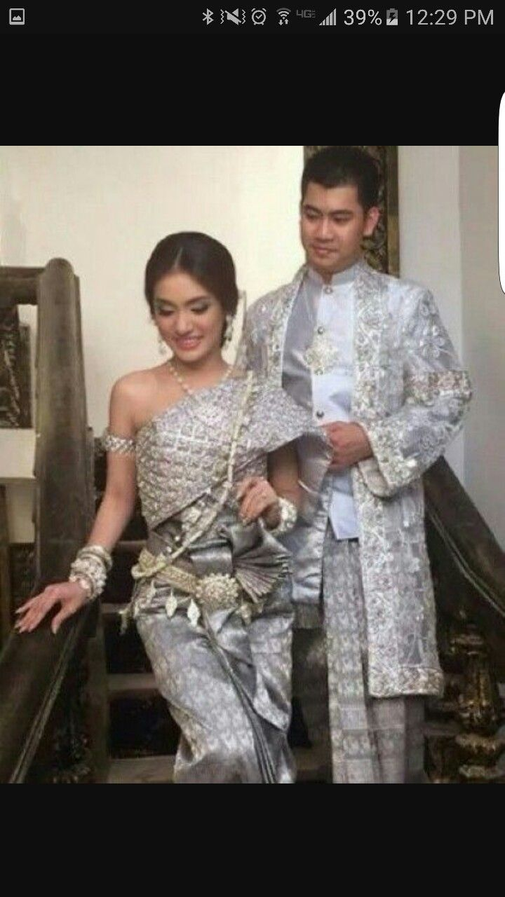 Silver Khmer Cambodian Traditional Wedding Outfit