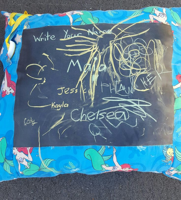 Kids get to write their names then at the end of the day i will take a photo and they can see it on Facebook
