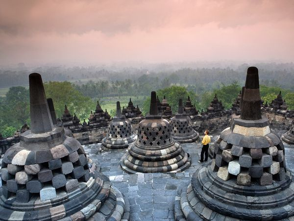 The Borobudur Buddhist temple in Java is one stop on a cultural tour of Indonesia offered by Journeys International.    Photograph by Frans Lemmens, Hollandse Hoogte/Redux