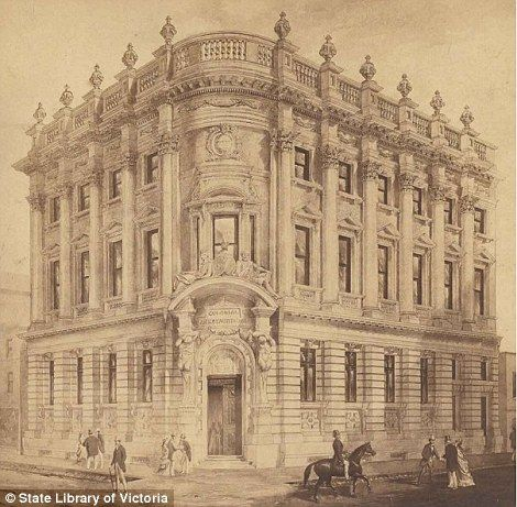 The New Colonial Bank of Australasia was a three storey building on the corner of Elizabeth and Little Collins Streets, constructed in 1880. After demolition the doorway was placed on the facade of the Chemistry School in the grounds of the University of Melbourne. Following the demolition of the Chemistry School, the doorway was placed at an exit from the University's underground car park
