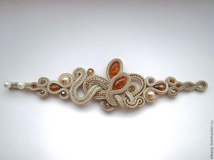 """Купить браслет """"Golden curls"""" - золотой, сутаж, сутажная вышивка, янтарь, чешское стекло"""
