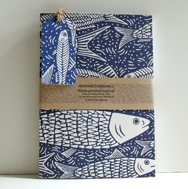 Hand-printed blue fish Journal £12.00 InkyPrints