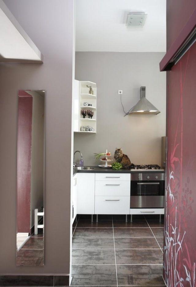 wandfarbe küche hellgrau bodenfliesen metall ikea modulküche