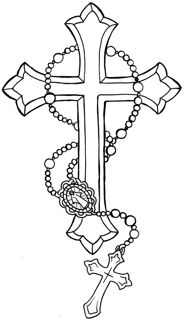 Cross Tattoo Line Drawing : Cross with rosary tattoo by metacharis on deviantart
