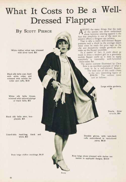 What it costs to be a well-dressed flapper.
