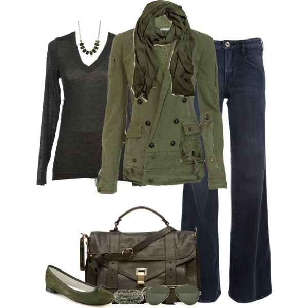 Military Green, created by partywithgatsby on Polyvore: Army Green, Outfits Polyvore, Pin, Levis, Fall Outfits, Military Green, Olives Green, Olives Jackets, Autumn Fashion Green