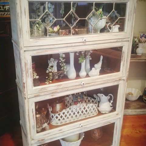 RUSTIC CHIC CHALK PAINTED VINTAGE LAWYER BARRISTER BOOKCASE DISPLAY CASE…