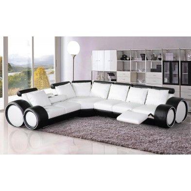 Canap d angle r versible en cuir ultra design blanc et for Canape cuir noir et blanc