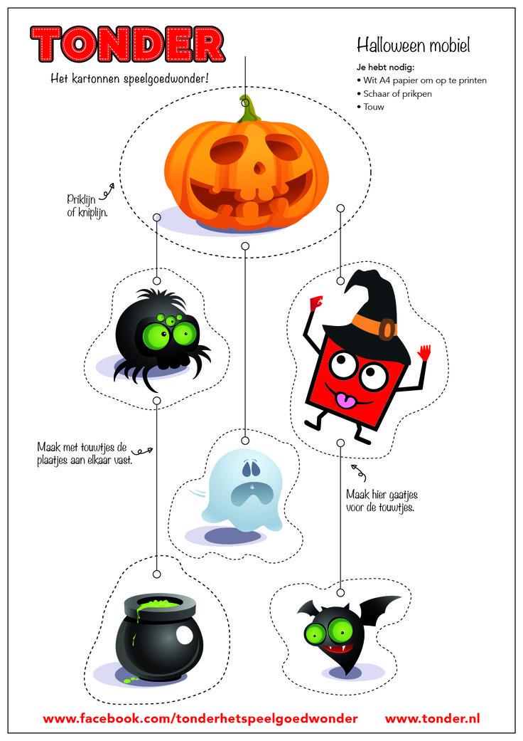 Halloween is al weer sneller dan je denkt! Deze leuke Halloween mobiel kun jij ook knutselen. Hou onze Facebookpagina in de gaten, want er komen nog veel meer nieuwe downloads https://www.facebook.com/tonderhetspeelgoedwonder/