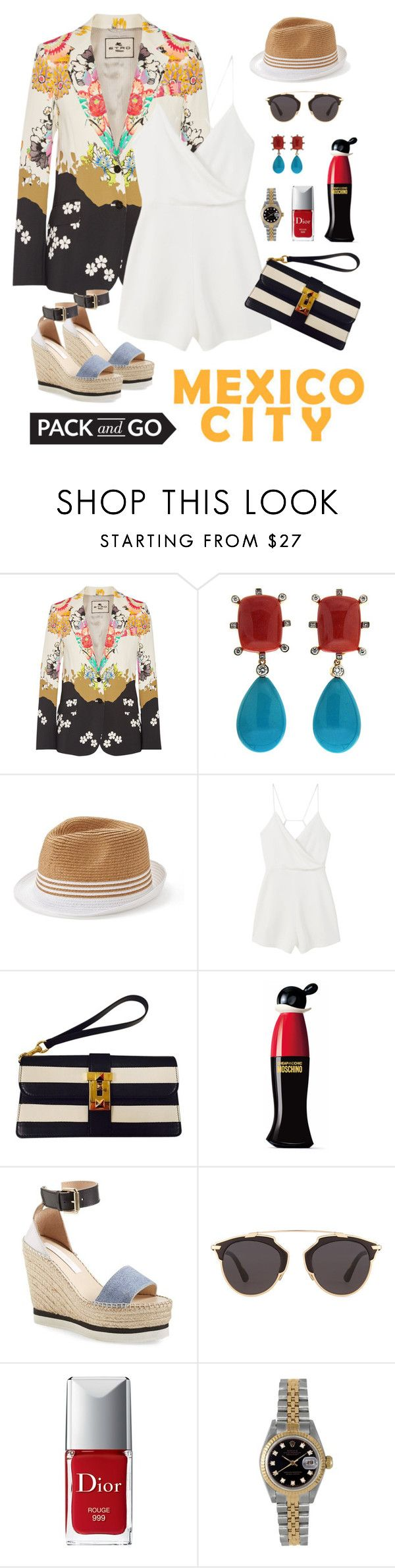 """""""Mexico City"""" by staggemeier-amaral ❤ liked on Polyvore featuring Etro, Valentin Magro, SONOMA Goods for Life, MANGO, Valentino, Moschino, See by Chloé, Christian Dior, Rolex and blazer"""