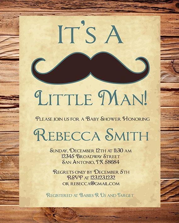 Baby shower Invitation boy Mustache Boy by StellarDesignsPro, $20.00