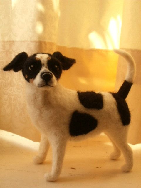 Artist Needle Felted Jack Russell Terrier Dog by LaCharmour