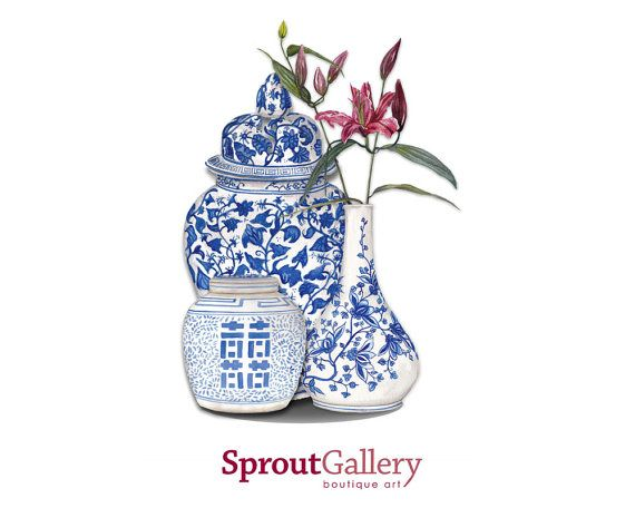 LARGE REPRODUCTION PRINT Blue and white ginger jars with pink lily print