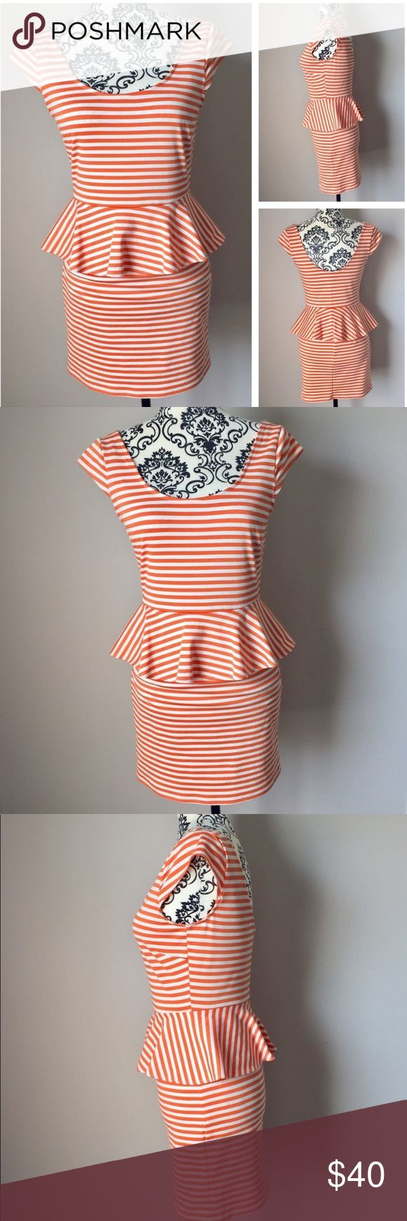 "NWOT orange off-white striped peplum midi dress NWOT orange and off-white striped peplum midi dress. Adorable cap sleeves. Scoop back for a sexy look. Waist measures approximately 13"" laid flat. Length from top of shoulder to hem is approximately 30"". Armpit to armpit approximately 16"". 81% polyester / 16% rayon / 3% spandex is smooth and comfortable with a little stretch. Machine wash. Never worn or washed! Speechless Dresses Midi"