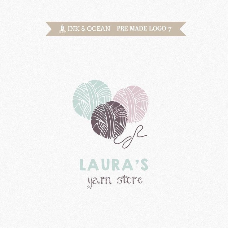 Knitting Logo Ideas : Boutique premade logo design for your business knitting