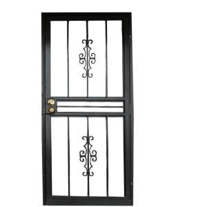 Grisham 501 Series Genesis 30 in. x 80 in. Steel Black Prehung Security Door-50151 at The Home Depot